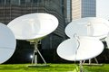 Parabolic satellite dish receivers picture of space technology Royalty Free Stock Photo
