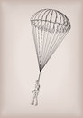 Parachute chute brolly or guardian angel with men person fly, fl