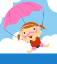 Parachute illustration of a ccute little girl and Royalty Free Stock Images