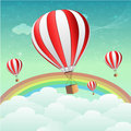 Parachutes with rainbow Stock Photos