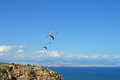 Parachutes in the sky a view towards alicante with a few paragliders stacked up Royalty Free Stock Photography