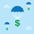 Parachuting dollar sign signs down from the sky Stock Photos