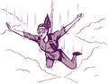 Parachuting girl stylized drawing of a Royalty Free Stock Image