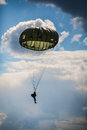 Parachutist in the war Royalty Free Stock Photo