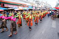 Parade dancing festival site dances in the candle at nakhon ratchasima province in thailand Royalty Free Stock Photos