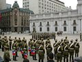 Parade national day celebration palace chile with flags at the with all the south america Royalty Free Stock Images