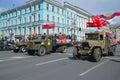 Parade of retro transport on Nevsky Prospekt. Victory Day in St. Petersburg Royalty Free Stock Photo