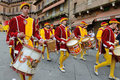 Parade siena the contrada of valdimontone valley of the ram through the streets of in preparation for the palio april in Stock Photos