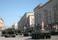 The parade of tanks rehearsal in moscow Stock Images