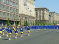 Parade of victory ukraine kiev may ceremonial at kiev main street khreshchatyc dedicated to the th anniversary in great patriotic Royalty Free Stock Photo
