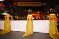 Parade of villager in chinese new year celebration Royalty Free Stock Photos