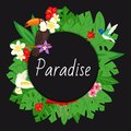 Paradise background. Beach design, jungle banner vector illustration. Tropical palm tree leaves with bright flowers