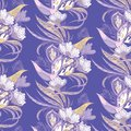 Paradise birds seamless eastern pattern