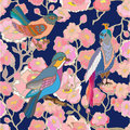 Paradise garden. Silk scarf pattern with flowers, leaves and fantasy birds.