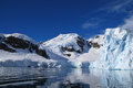 Paradise harbor antarctica ice cliffs and mountains in Royalty Free Stock Photos