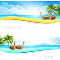 Paradise island backgrounds with palm trees and boats vector banner Stock Photo