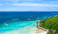 Paradise Island With Blue Sea In High Angle View Stock Photos