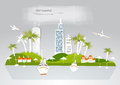 Paradise island, holiday hotel travel background White city collection Royalty Free Stock Photo