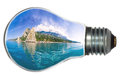 Paradise island in light bulb Stock Photo