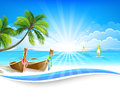 Paradise island with palm trees and boats vector background Stock Photo