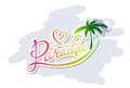 Paradise logo handwritten calligraphic with palm silhouette Royalty Free Stock Image