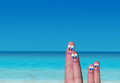 Paradise vacation of fingers s family on beach Royalty Free Stock Photo