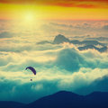 Paraglide over the mountains Royalty Free Stock Photo