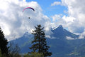 Paraglider in the alps flying Stock Photography