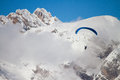 Paraglider on Dolomites Royalty Free Stock Photo