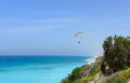 Paraglider flying above sea israel Stock Photography