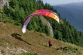 Paraglider in a mountainous area of romania Royalty Free Stock Photography