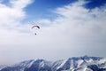 Paraglider silhouette of mountains in windy sky caucasus georgia ski resort gudauri Royalty Free Stock Photos