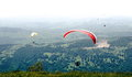 Paragliders flying in Romania