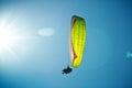 Paragliding along beautiful coastline. Royalty Free Stock Photo