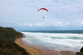 Paragliding at the beach in australia Royalty Free Stock Photo