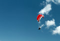 Paragliding in clear blue sky in germany brauneck Royalty Free Stock Photos