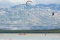 Paragliding in Nin, Croatia Royalty Free Stock Photo