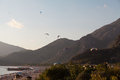 Paragliding in oludeniz turkey resort Royalty Free Stock Images