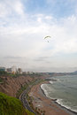 Paragliding over lima district miraflores Stock Image