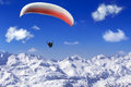 Paragliding over the mountains Royalty Free Stock Photo