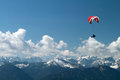 Paragliding over mountains in germany brauneck Stock Image