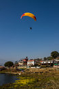 Paragliding paraglider above pokhara in nepal Royalty Free Stock Photos