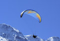 Paragliding paraglider soars above pennine alps in switzerland Royalty Free Stock Images