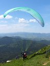 Paragliding takeoff puy de dome the is a well known center for it offers views over the volcanos and clemont ferrand Stock Image