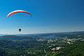 Paragliding on tiger mountain in issaquah washington Royalty Free Stock Image