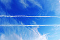 Parallel plane trails in sky Royalty Free Stock Photo