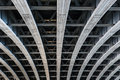Parallel steel beams supporting bridge span Royalty Free Stock Photo