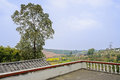 Parapet on rooftop of aged farmhouse in sunny day the the an spring chengdu china Royalty Free Stock Image