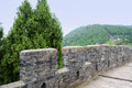 Parapet and walkway of ancient chinese wall on mountain in summe the an gray brick the summer green chengdu china Stock Photos