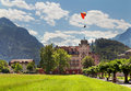Paraplane against mountains hotel to interlaken switzerland Stock Images